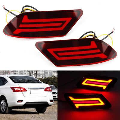 2x LED Rear Bumper Light Reflector Brake Tail Turn Lamp For Nissan Sylphy 16 18