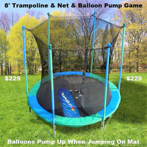 New 8' Trampoline & Safety Net Enclosure, Balloon Bump Game,Sale