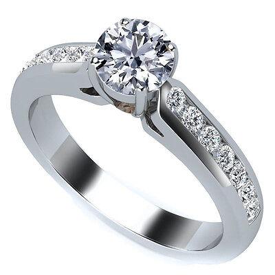 .80 CARAT ROUND CUT DIAMOND ENGAGEMENT WEDDING RING CHANNEL SET 14K WHITE (Channel Set Round Cut Diamond)