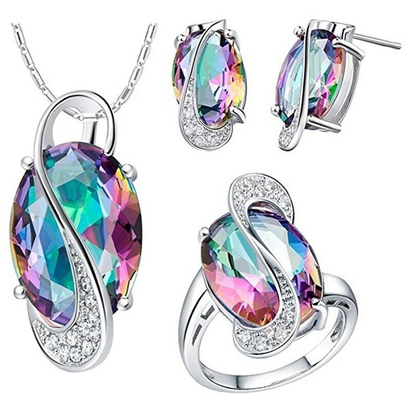 Elegant Colorful 925 Silver Zircon Crystal Necklace Earrings