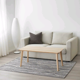 IKEA Glumso Grey Silver & White Low Pile Rug