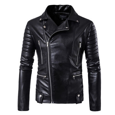 Men's Slim fit Lambskin Motorcycle Biker Jacket Genuine Black Jacket Leather