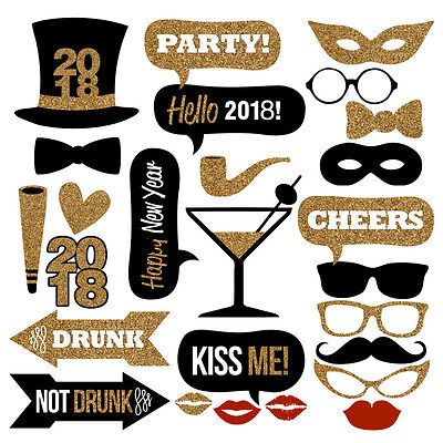 26PCS 2018 New Year's Eve Party Card Masks Photo Booth Props Decorations US SHIP - New Year Eve Party Decorations