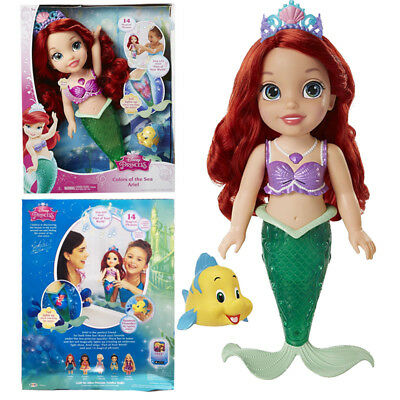 Ariel Toddler Doll Disney Princess Colors Of The Sea Tiara Flounder Figure Toy - Tiara Toys