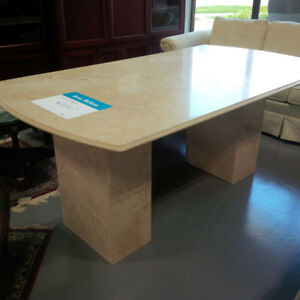 Travertine marble table in like new condition only $600