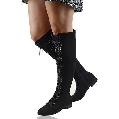 LADIES LACE UP THIGH HIGH FLAT WOMENS OVER THE KNEE HIGH COMBAT ...