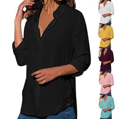 UK Womens Long Sleeve Chiffon Blouse Ladies Casual Basic Tops Shirt Size 6-24