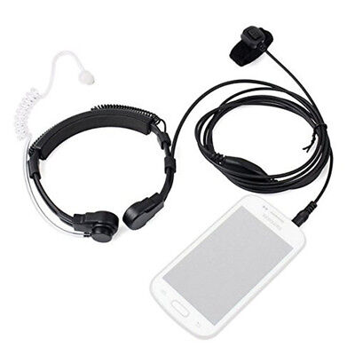 Tactical Throat Microphone Covert Acoustic Tube Earpiece Headset 3.5mm for Phone