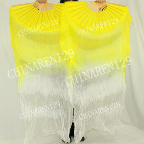 sale PAIRS 1.5M BELLY DANCE 100% SILK FAN VEILS free shipping yellow white 5888