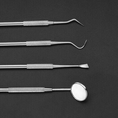4 Pcs Stainless Steel Dental Set Dentist Tooth Kit Oral Clean Tool Probe Tweezer
