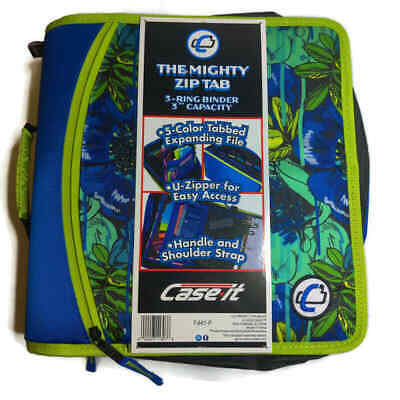 Case It Mighty Zip Tab 3-inch 3-ring Zipper Binder T-641-p Blue Floral New