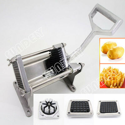 Manual Potato Chipper Vegetable Cutter - Bench or Wall Mountable - 4 Blades FAST