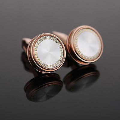 Rose Gold Cufflinks Circular Round Patterned Pair Wedding Mens Cuff Links ()