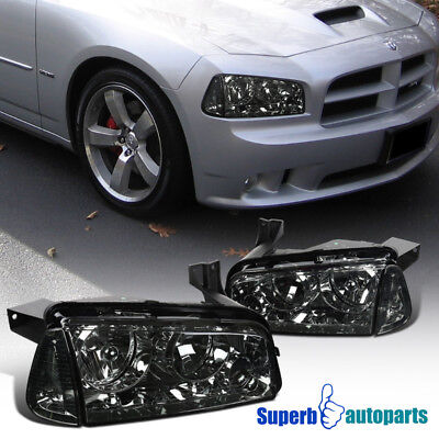 2006-2010 Dodge Charger Euro Chrome Smoke Headlights Replacement w/ Corner Lamps for sale  Shipping to Canada