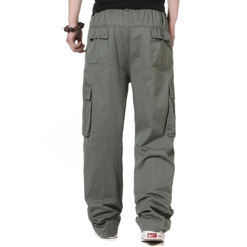 cargo overalls elastic waist pocket cotton long loose pants trousers Plus XXXXXL