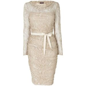 Phase eight Jemma oyster gold lace vintage style wedding / evening Dress