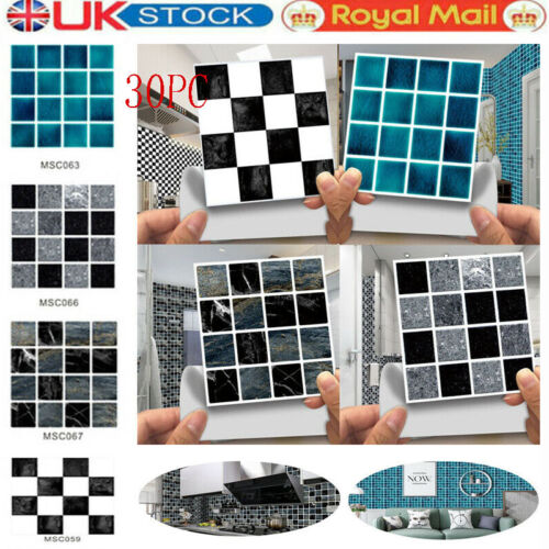 Home Decoration - 30x Kitchen Tile Stickers Bathroom Mosaic Sticker Self-adhesive Wall Home Decor