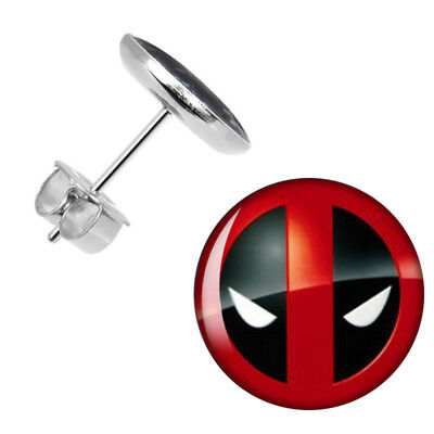 Marvel DEADPOOL LOGO Silver Dome STUD EARINGS In Gift Box