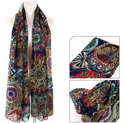 Women Lady Chiffon Print Silk Long Neck Scarf Shawl Stole Wraps Pashmina Scarves