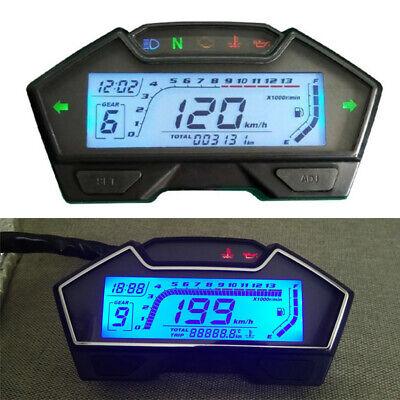 12V Multi-functions LED LCD Motorcycle Speedometer Odometer RPM Speed Fuel Gauge