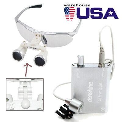 Silver Dental Loupes 3.5x 320mm Surgical Binocular Optical Glass Head Light Lamp
