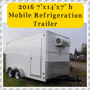 """Like New 2016 Mobile 7'x14'x7'high C Jay """"Refrigeration"""" Trailer"""