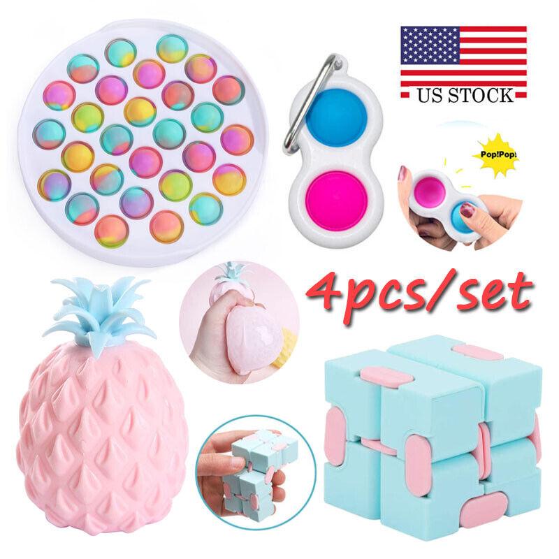 4 Pack Sensory Fidget Toys Set ADHD Stress Relief Anti-Anxiety Stocking Stuffer