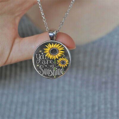 You Are My Sunshine Photo Cabochon Glass Silver Chain Pendant Necklace Vintage