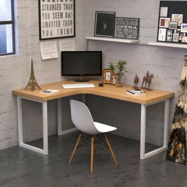 E 025 PO Solid Wood L Shape Office, Writing Table