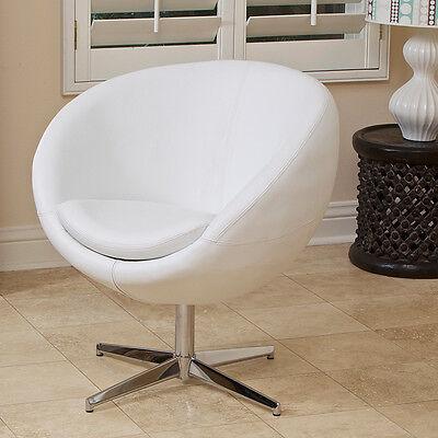 Sphera Modern Design White Leather Swivel Accent -