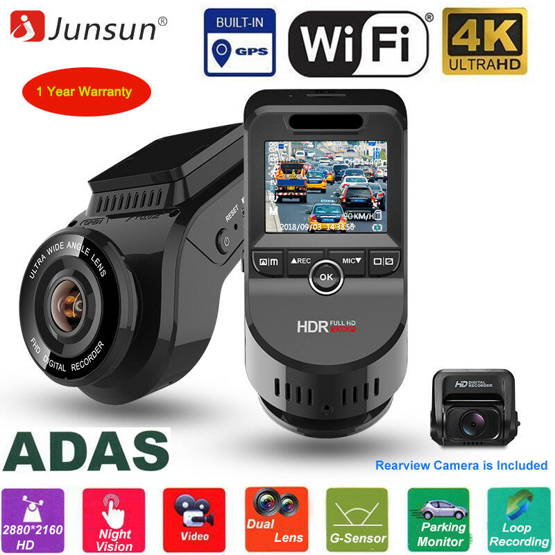 Dual Lens 4K Ultra HD 2160P Dash Cam Car Camera WiFi DVR with GPS Video Recorder