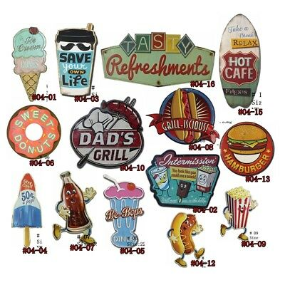 Ice Cream Vintage Tin Signs Hot Dog Metal Painting Wall Decor Hanging Poster