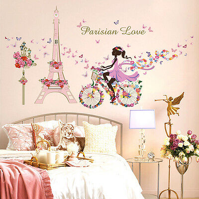 Us Stock Wall Sticker Paris Eiffel Tower Flower Girl Vinyl Art Decal Home Decor