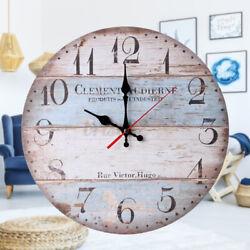 12inch Retro Style Round Wooden Wall Clock Farmhouse Plank Clocks Home Decor
