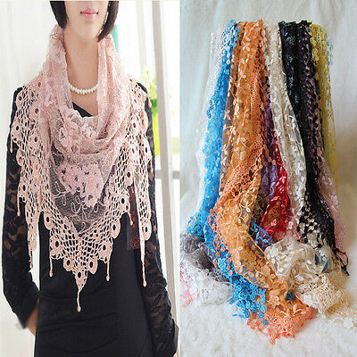 (NEW Rose Floral Knit  Hollow Scarf Shawl Wrap Mantilla Triangle Lace Tassel HOT)