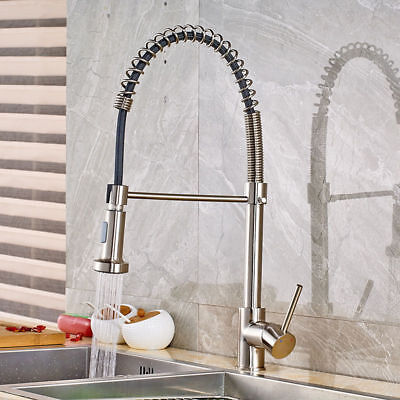 Brushed Nickel Kitchen Descend Faucet Pull Down Sprayer Single Hole Bar Mixer Tap