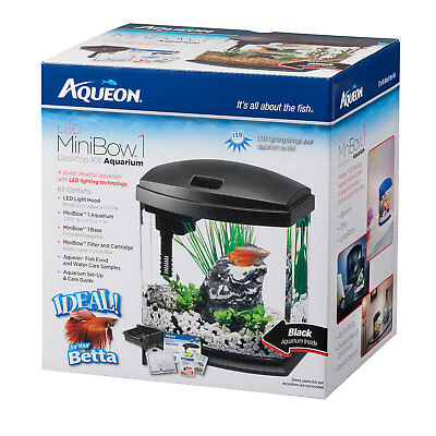 Aqueon 1 Gallon MiniBow LED Desktop Fish Aquarium Kit, Black