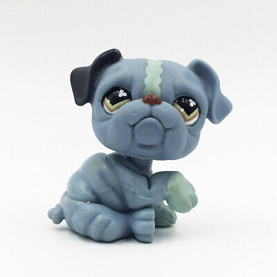 Rare LPS Toys #668 Littlest Pet Shop Slate Blue and Grey Accented Bulldog -