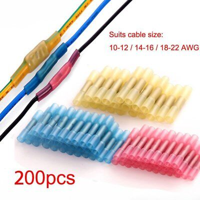 200x Heat Shrink Butt Wire Connectors 18-22 14-16 10-12 Awg Electrical Terminals