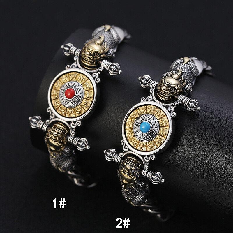S925 Sterling Silver Vajra OM MANI PADME HUM Piqiu Fortune Turntable Bracelet
