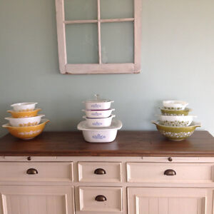 Lots of Vintage PYREX sets for sale and retro Blue Corningware