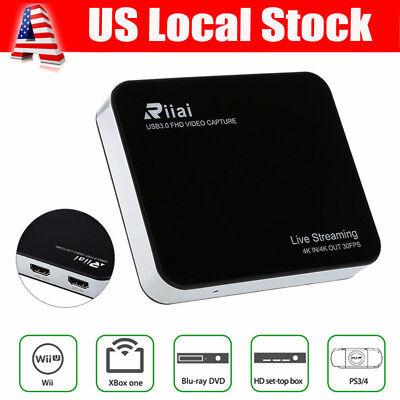 Riiai 4K HD Video Capture Live Game Streaming Box Wifi HDMI USB 3.0 Fr OBS PS3/4