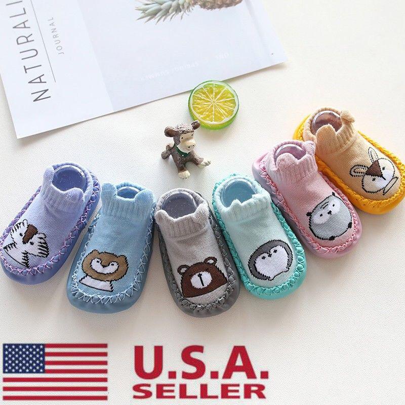 Toddler Non-Slip Boot Socks Kids Baby Cartoon Warm Shoes Anti-slip Slipper Exoti