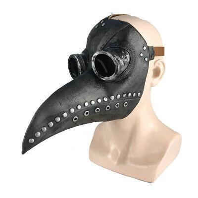 Gray Plague Doctor Bird Long Nose Beak Steampunk Face Mask Halloween Costume