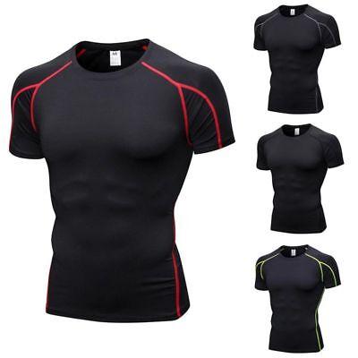 Männer Sportbekleidung Funktionsshirt Fitness Sport Shirt Kompression Kurzarm DE