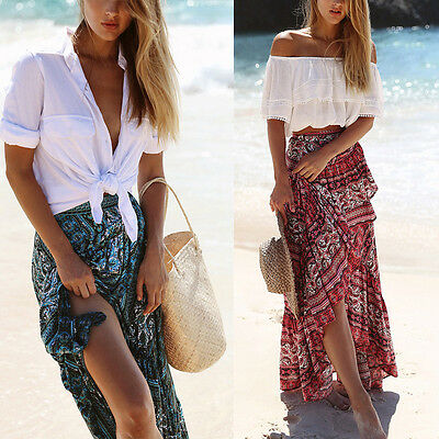 Us Stock Boho Women Floral Dress Long Maxi Skirt Summer Beach Sun Dresses Beach