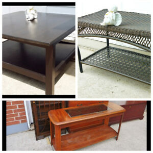 3 TYPES OF COFFEE TABLES, OFFICE CHAIR, 2 BED FRAMES I DELIVER