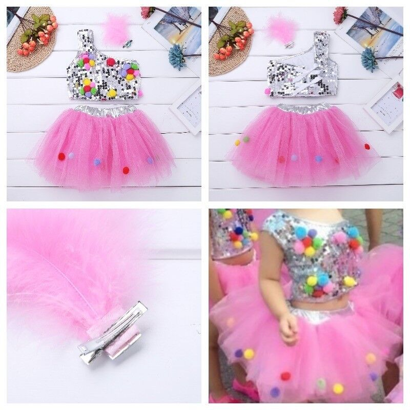 Freebily Girls Sequins Tutu Dress Skirt Hair Clip Outfit Ballet Morden Jazz Latin Dance Stage Performance Costumes