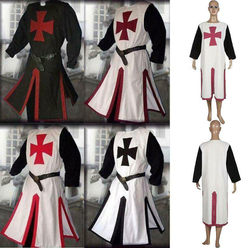 Men Medieval Templar Knight Crusader Surcoat Long Sleeve Outfit Cosplay Costume