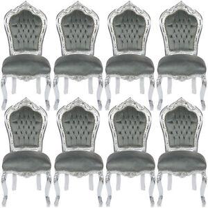 angebot 8 x esszimmerst hle kaufen top preis bequeme barock st hle grau silber ebay. Black Bedroom Furniture Sets. Home Design Ideas